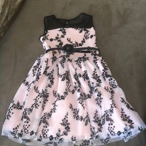 Children's place pink and black dress 8